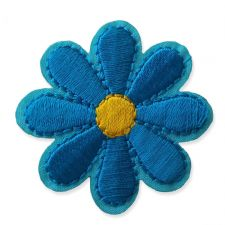 TURQUOISE BLUE DAISY MOTIF IRON ON EMBROIDERED PATCH APPLIQUE